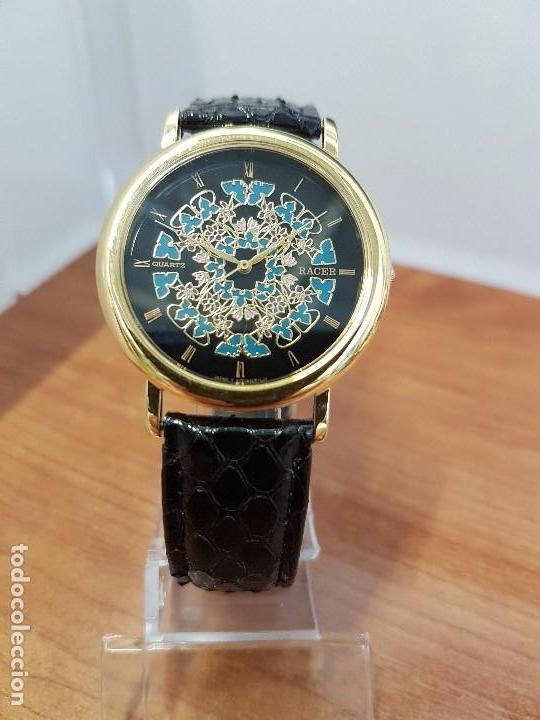 Relojes - Racer: Reloj unisex chapado de oro marca RACER, esfera pintada a mano muy bonita, correa cuero original - Foto 14 - 99214071