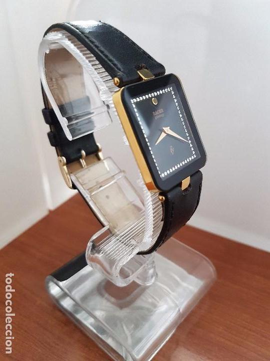 Relojes - Racer: Reloj se caballero cuarzo RACER chapado de oro, con correa de cuero negra sin uso, reloj de stock - Foto 3 - 99237355