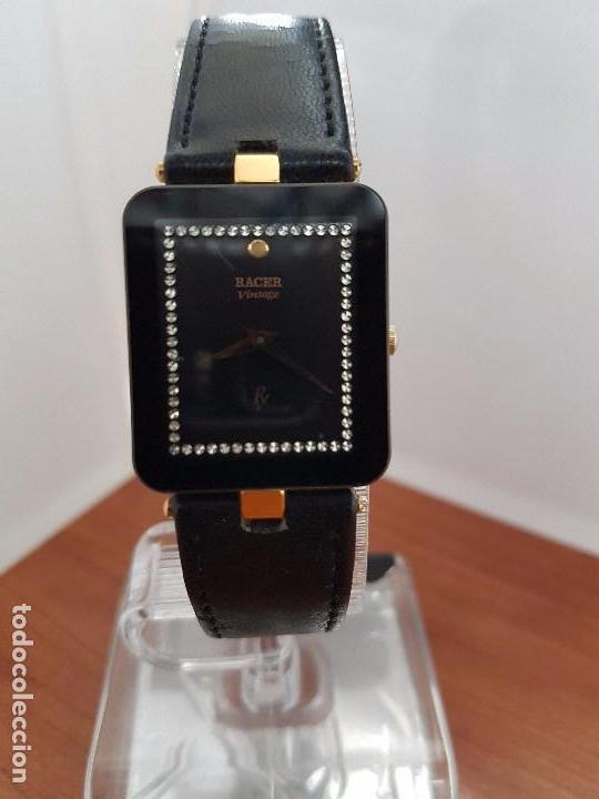 Relojes - Racer: Reloj se caballero cuarzo RACER chapado de oro, con correa de cuero negra sin uso, reloj de stock - Foto 5 - 99237355