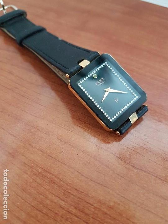 Relojes - Racer: Reloj se caballero cuarzo RACER chapado de oro, con correa de cuero negra sin uso, reloj de stock - Foto 7 - 99237355