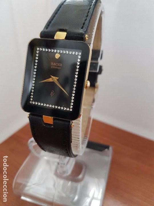 Relojes - Racer: Reloj se caballero cuarzo RACER chapado de oro, con correa de cuero negra sin uso, reloj de stock - Foto 13 - 99237355