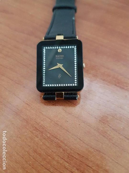Relojes - Racer: Reloj se caballero cuarzo RACER chapado de oro, con correa de cuero negra sin uso, reloj de stock - Foto 16 - 99237355