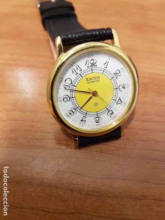 Relojes - Racer: Reloj caballero RACER de cuarzo chapado de oro, esfera muy bonita, correa negra nueva sin uso - Foto 4 - 102274023