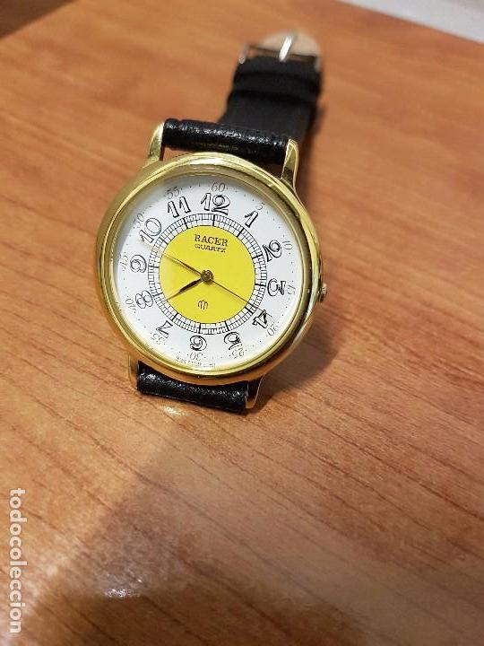 Relojes - Racer: Reloj caballero RACER de cuarzo chapado de oro, esfera muy bonita, correa negra nueva sin uso - Foto 6 - 102274023