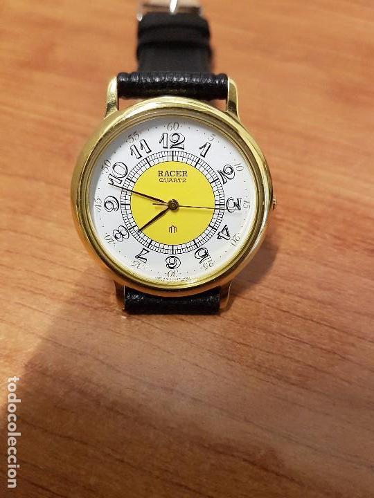 Relojes - Racer: Reloj caballero RACER de cuarzo chapado de oro, esfera muy bonita, correa negra nueva sin uso - Foto 7 - 102274023
