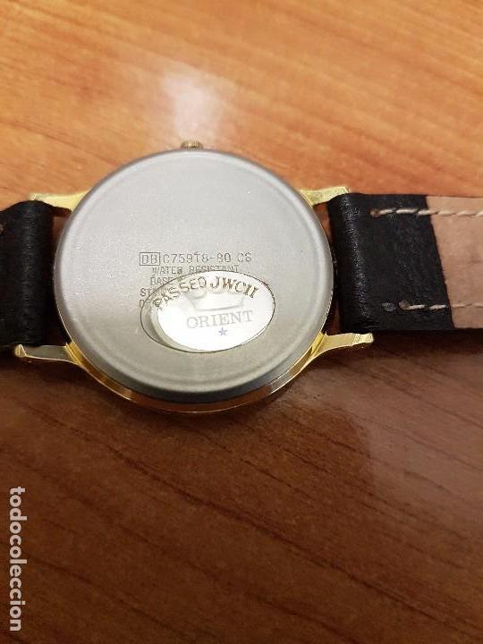 Relojes - Racer: Reloj caballero RACER de cuarzo chapado de oro, esfera muy bonita, correa negra nueva sin uso - Foto 9 - 102274023