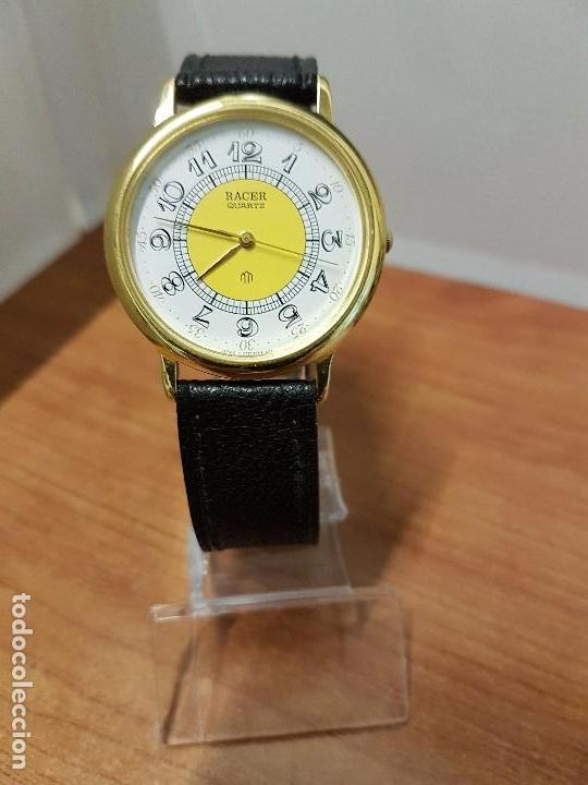 Relojes - Racer: Reloj caballero RACER de cuarzo chapado de oro, esfera muy bonita, correa negra nueva sin uso - Foto 13 - 102274023
