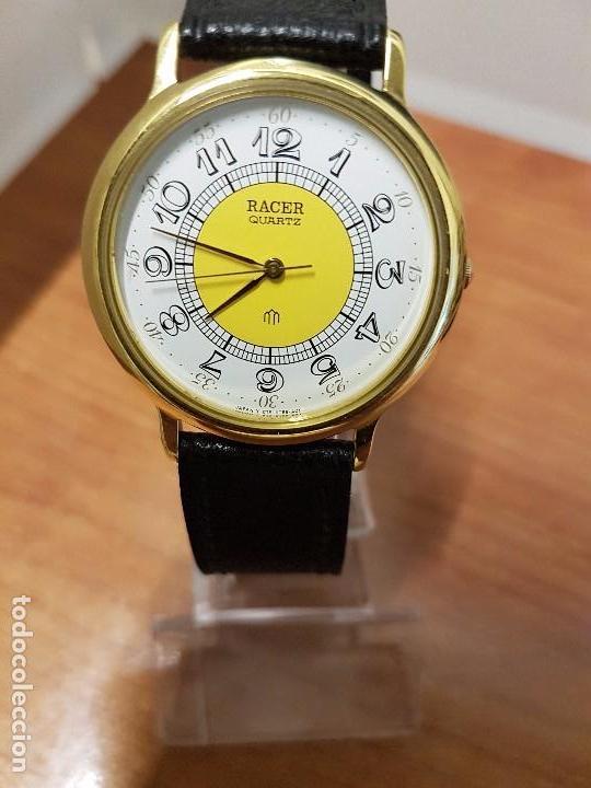 Relojes - Racer: Reloj caballero RACER de cuarzo chapado de oro, esfera muy bonita, correa negra nueva sin uso - Foto 14 - 102274023