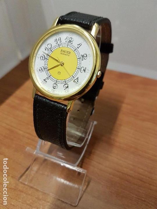 Relojes - Racer: Reloj caballero RACER de cuarzo chapado de oro, esfera muy bonita, correa negra nueva sin uso - Foto 16 - 102274023