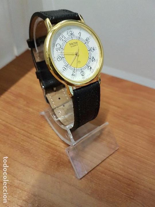 Relojes - Racer: Reloj caballero RACER de cuarzo chapado de oro, esfera muy bonita, correa negra nueva sin uso - Foto 17 - 102274023