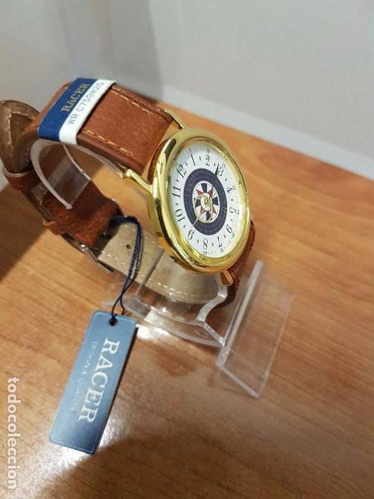 Relojes - Racer: Reloj caballero RACER de cuarzo chapado de oro, esfera muy bonita, correa marrón nueva sin uso - Foto 2 - 102379799