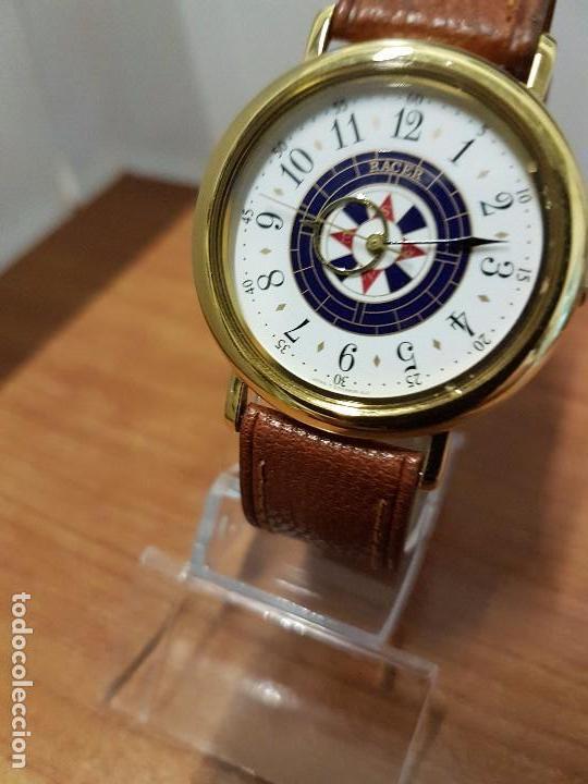 Relojes - Racer: Reloj caballero RACER de cuarzo chapado de oro, esfera muy bonita, correa marrón nueva sin uso - Foto 4 - 102379799
