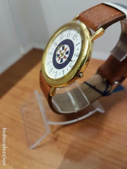 Relojes - Racer: Reloj caballero RACER de cuarzo chapado de oro, esfera muy bonita, correa marrón nueva sin uso - Foto 5 - 102379799