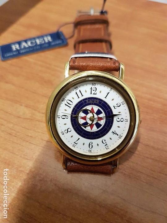 Relojes - Racer: Reloj caballero RACER de cuarzo chapado de oro, esfera muy bonita, correa marrón nueva sin uso - Foto 6 - 102379799