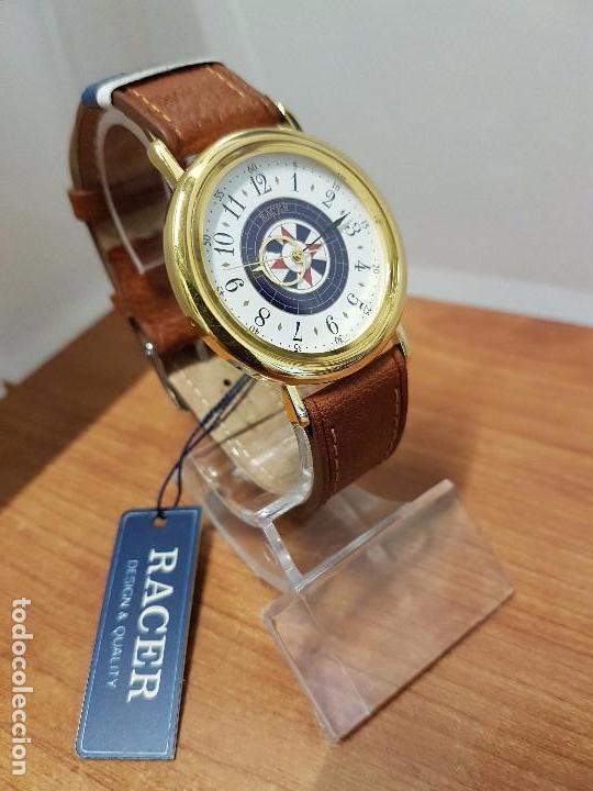 Relojes - Racer: Reloj caballero RACER de cuarzo chapado de oro, esfera muy bonita, correa marrón nueva sin uso - Foto 10 - 102379799