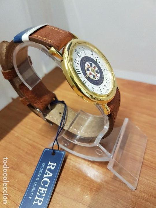 Relojes - Racer: Reloj caballero RACER de cuarzo chapado de oro, esfera muy bonita, correa marrón nueva sin uso - Foto 11 - 102379799