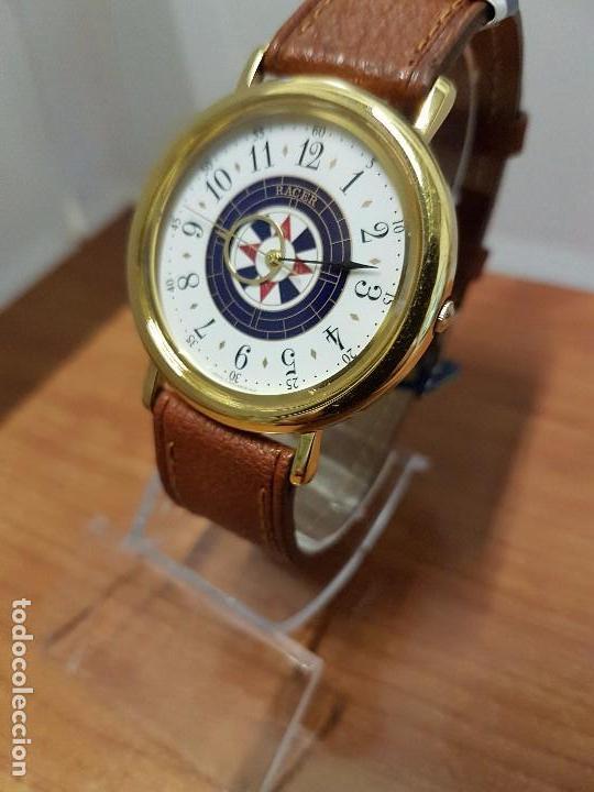 Relojes - Racer: Reloj caballero RACER de cuarzo chapado de oro, esfera muy bonita, correa marrón nueva sin uso - Foto 12 - 102379799