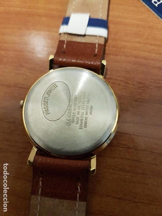 Relojes - Racer: Reloj caballero RACER de cuarzo chapado de oro, esfera muy bonita, correa marrón nueva sin uso - Foto 14 - 102379799