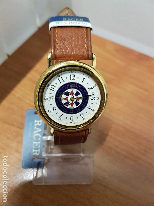 Relojes - Racer: Reloj caballero RACER de cuarzo chapado de oro, esfera muy bonita, correa marrón nueva sin uso - Foto 15 - 102379799