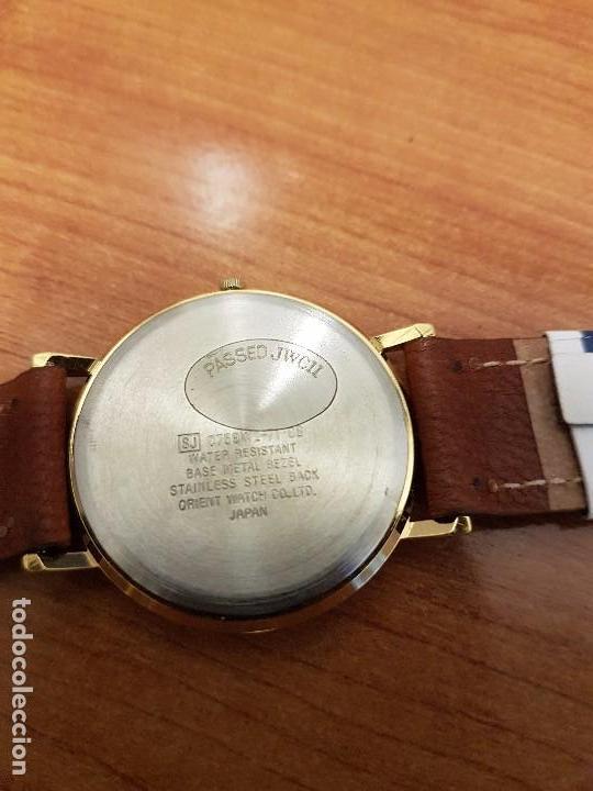 Relojes - Racer: Reloj caballero RACER de cuarzo chapado de oro, esfera muy bonita, correa marrón nueva sin uso - Foto 16 - 102379799