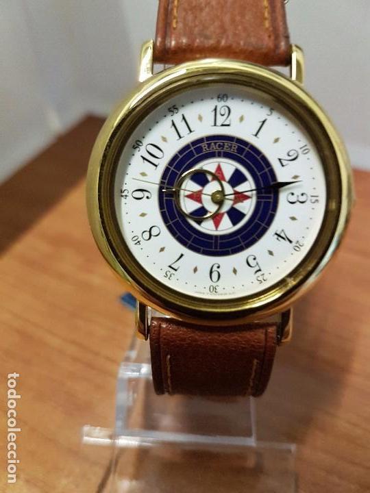 RELOJ CABALLERO RACER DE CUARZO CHAPADO DE ORO, ESFERA MUY BONITA, CORREA MARRÓN NUEVA SIN USO (Relojes - Relojes Actuales - Racer)