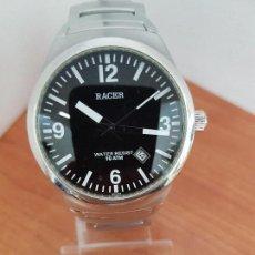 Relojes - Racer: RELOJ CABALLERO RACER CUARZO EN ACERO, CORREA ORIGINAL DE ACERO WATER RESISTENTE 10 ATM, PILA NUEVA . Lote 113857971