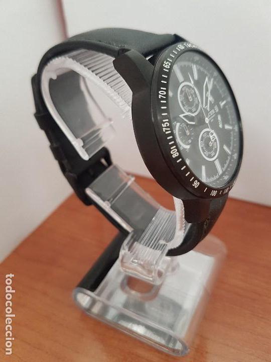 Relojes - Racer: Reloj caballero Racer cronografo de acero pavonado negro, calendario a las tres, correa cuero negra - Foto 2 - 114007159