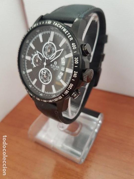 Relojes - Racer: Reloj caballero Racer cronografo de acero pavonado negro, calendario a las tres, correa cuero negra - Foto 3 - 114007159