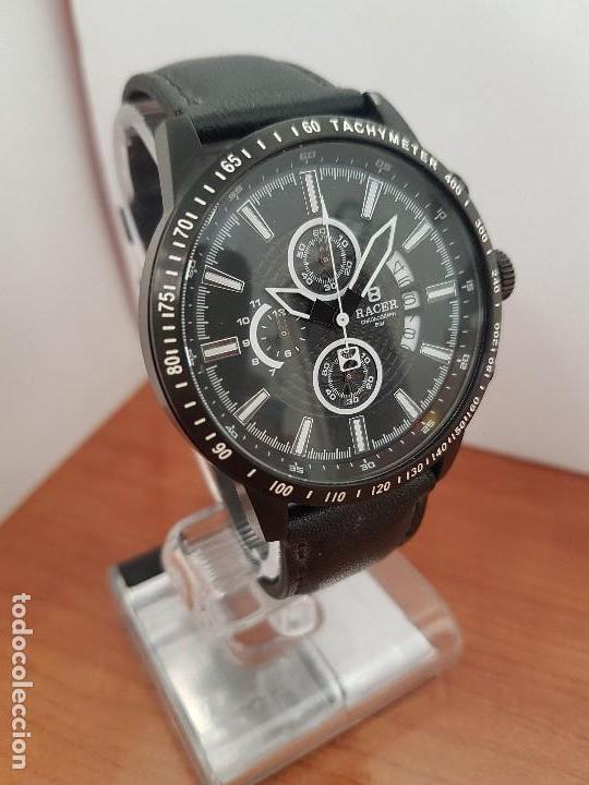 Relojes - Racer: Reloj caballero Racer cronografo de acero pavonado negro, calendario a las tres, correa cuero negra - Foto 4 - 114007159