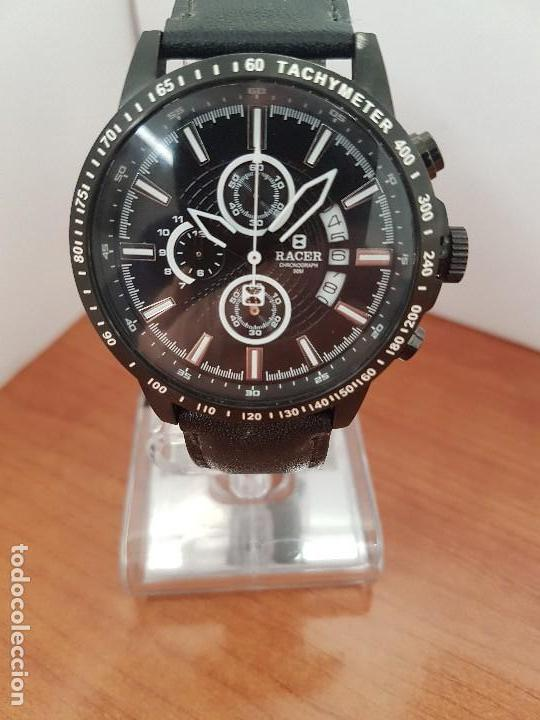 Relojes - Racer: Reloj caballero Racer cronografo de acero pavonado negro, calendario a las tres, correa cuero negra - Foto 8 - 114007159