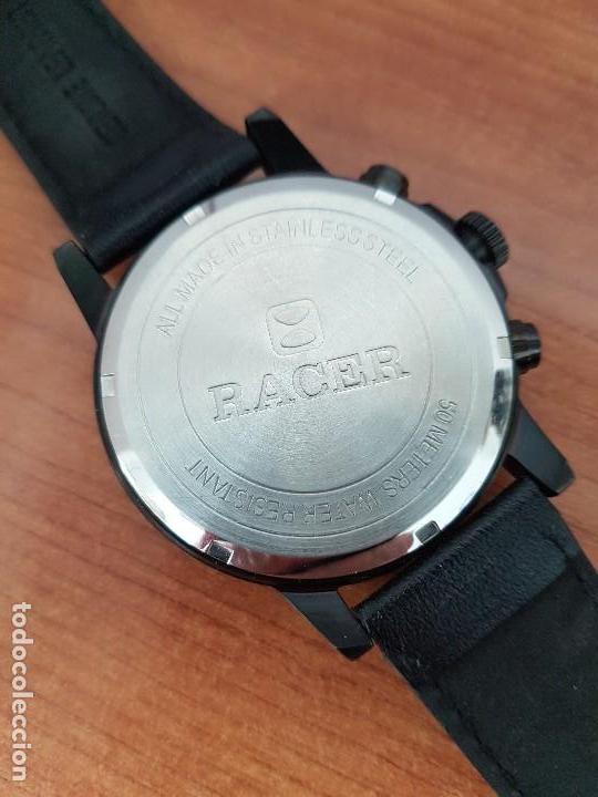 Relojes - Racer: Reloj caballero Racer cronografo de acero pavonado negro, calendario a las tres, correa cuero negra - Foto 14 - 114007159