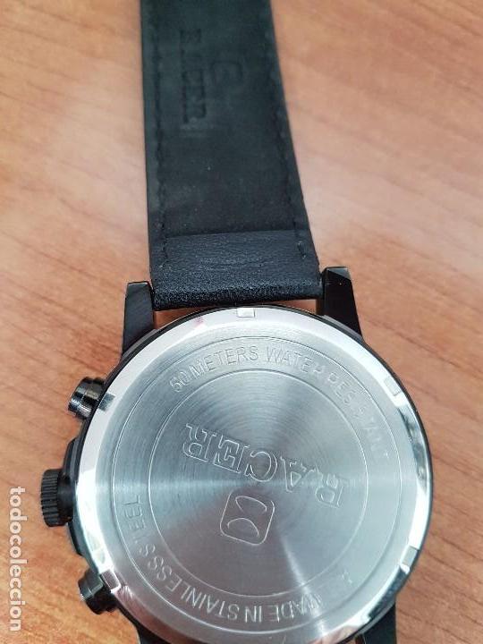 Relojes - Racer: Reloj caballero Racer cronografo de acero pavonado negro, calendario a las tres, correa cuero negra - Foto 16 - 114007159