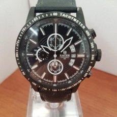 Relojes - Racer: RELOJ CABALLERO RACER CRONOGRAFO DE ACERO PAVONADO NEGRO, CALENDARIO A LAS TRES, CORREA CUERO NEGRA. Lote 114007159