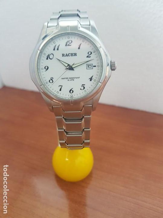 Relojes - Racer: Reloj caballero RACER de cuarzo en acero corona de rosca,esfera blanca, pulsera acero original Racer - Foto 2 - 133090794