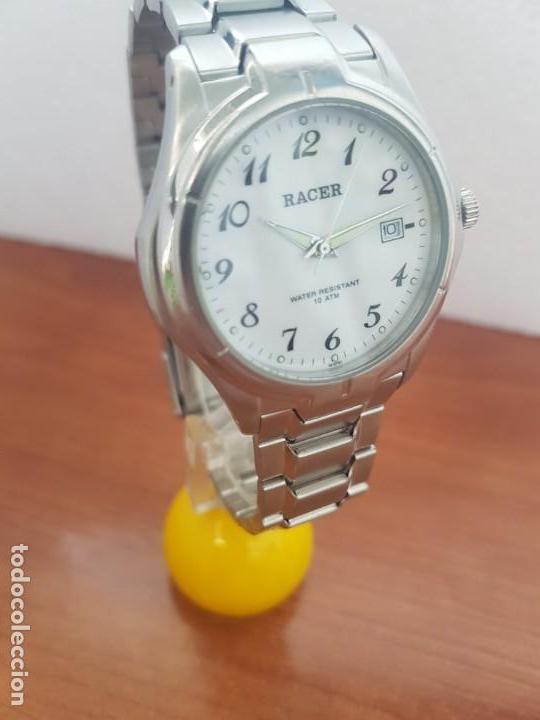 Relojes - Racer: Reloj caballero RACER de cuarzo en acero corona de rosca,esfera blanca, pulsera acero original Racer - Foto 3 - 133090794