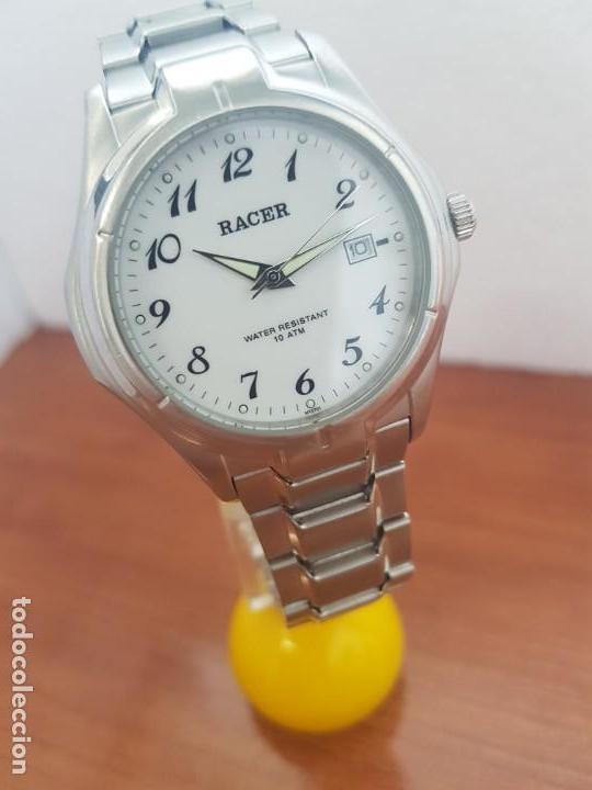 Relojes - Racer: Reloj caballero RACER de cuarzo en acero corona de rosca,esfera blanca, pulsera acero original Racer - Foto 7 - 133090794