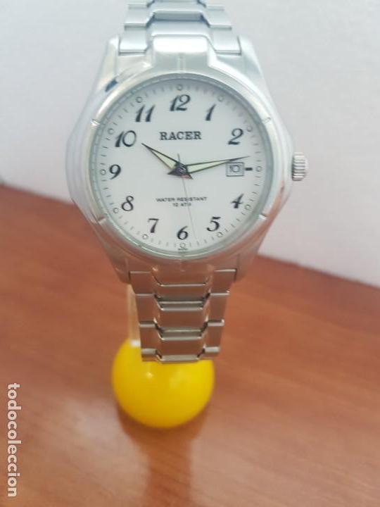 Relojes - Racer: Reloj caballero RACER de cuarzo en acero corona de rosca,esfera blanca, pulsera acero original Racer - Foto 11 - 133090794