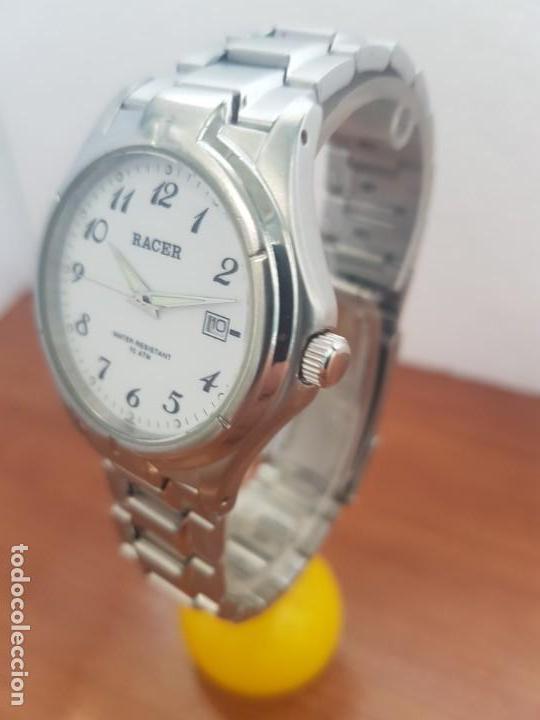 Relojes - Racer: Reloj caballero RACER de cuarzo en acero corona de rosca,esfera blanca, pulsera acero original Racer - Foto 13 - 133090794