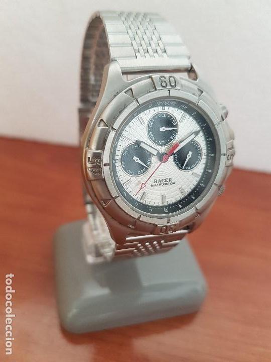 Relojes - Racer: Reloj caballero RACER multifunción en acero, esfera blanca y negra, correa de acero nueva sin uso - Foto 3 - 133389834