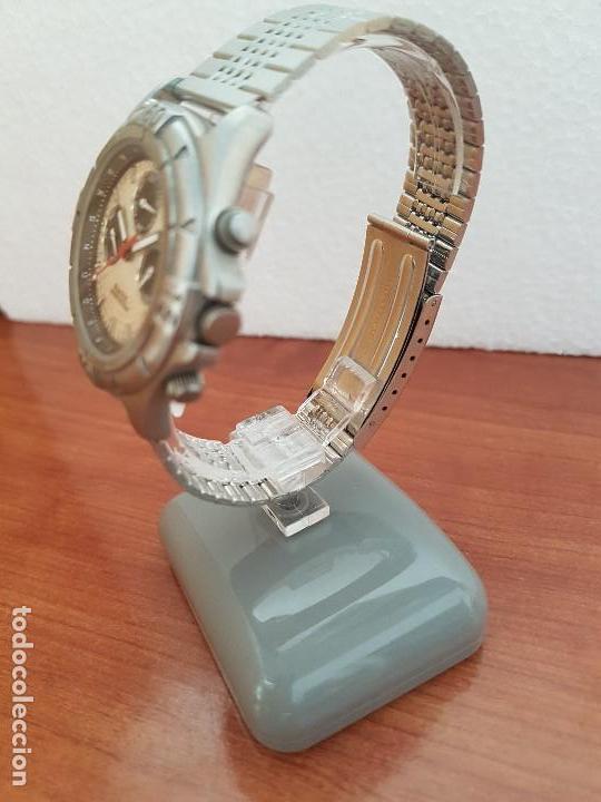 Relojes - Racer: Reloj caballero RACER multifunción en acero, esfera blanca y negra, correa de acero nueva sin uso - Foto 4 - 133389834