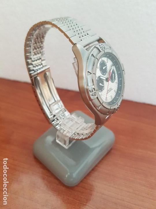 Relojes - Racer: Reloj caballero RACER multifunción en acero, esfera blanca y negra, correa de acero nueva sin uso - Foto 5 - 133389834