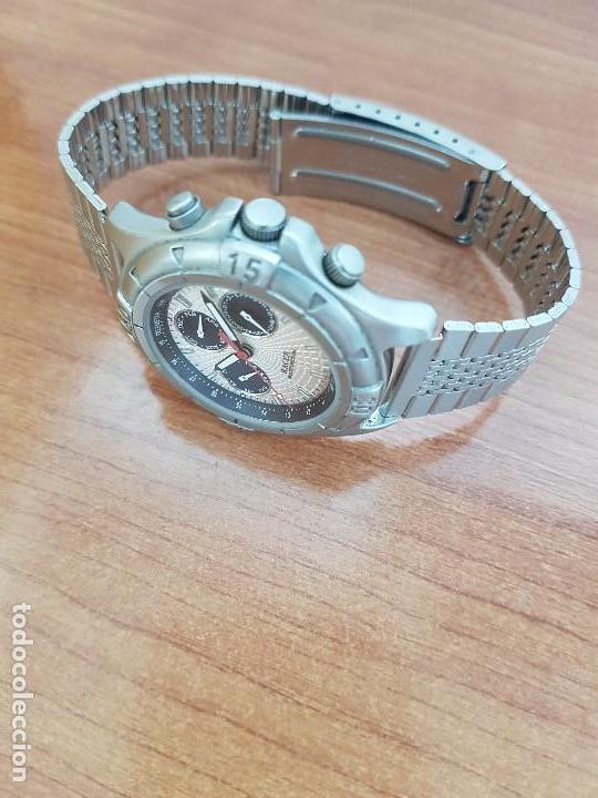Relojes - Racer: Reloj caballero RACER multifunción en acero, esfera blanca y negra, correa de acero nueva sin uso - Foto 6 - 133389834