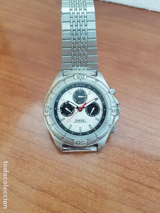 Relojes - Racer: Reloj caballero RACER multifunción en acero, esfera blanca y negra, correa de acero nueva sin uso - Foto 7 - 133389834