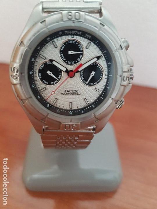 Relojes - Racer: Reloj caballero RACER multifunción en acero, esfera blanca y negra, correa de acero nueva sin uso - Foto 10 - 133389834