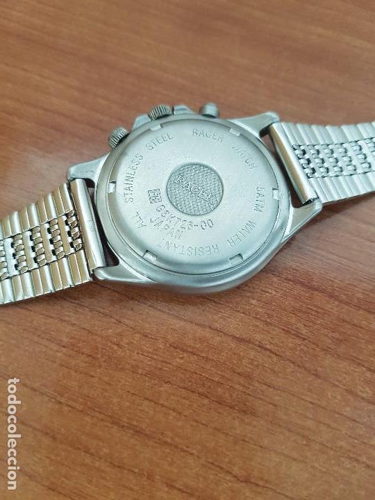 Relojes - Racer: Reloj caballero RACER multifunción en acero, esfera blanca y negra, correa de acero nueva sin uso - Foto 11 - 133389834