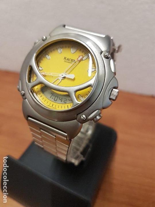 Relojes - Racer: Reloj caballero Vintage RACER analogico y digital corona de rosca, esfera amarilla con correa acero - Foto 2 - 141492278