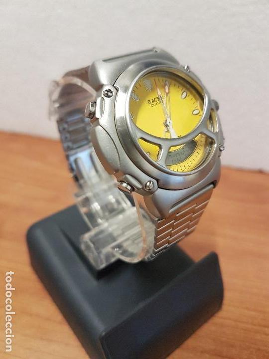 Relojes - Racer: Reloj caballero Vintage RACER analogico y digital corona de rosca, esfera amarilla con correa acero - Foto 3 - 141492278