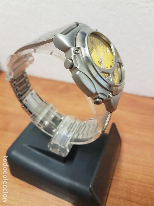 Relojes - Racer: Reloj caballero Vintage RACER analogico y digital corona de rosca, esfera amarilla con correa acero - Foto 5 - 141492278