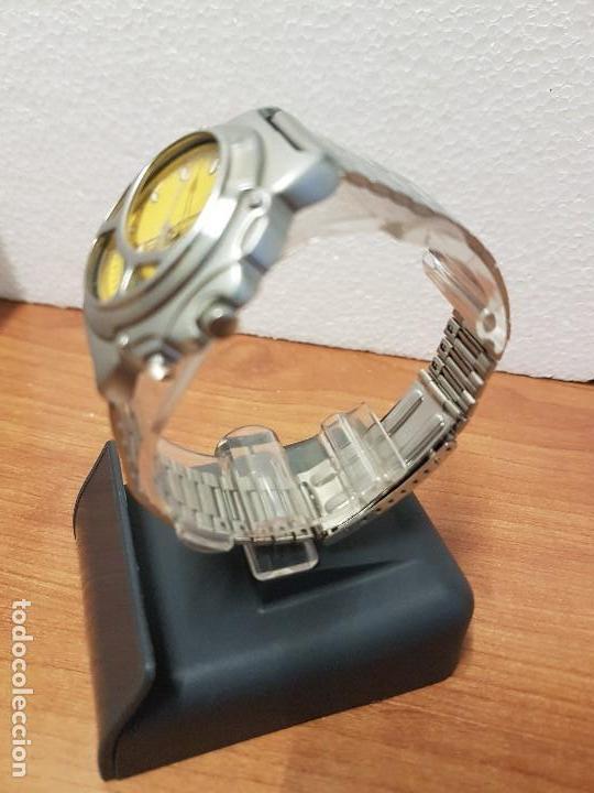 Relojes - Racer: Reloj caballero Vintage RACER analogico y digital corona de rosca, esfera amarilla con correa acero - Foto 6 - 141492278