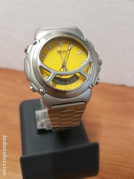 Relojes - Racer: Reloj caballero Vintage RACER analogico y digital corona de rosca, esfera amarilla con correa acero - Foto 7 - 141492278